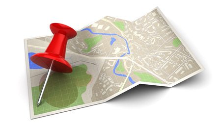 navigazione: 3d illustration of map and red pin, navigation concept