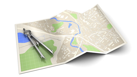 cartography: 3d illustration of cartography concept or icon, over white background Stock Photo