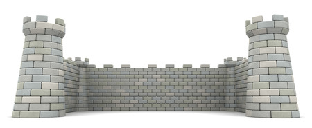 要塞の壁、空の領域テンプレートの 3 d イラストレーション 写真素材