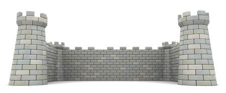3D-afbeelding van vestingmuren, lege ruimte template