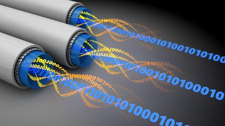fiber optic cable: 3d illustration of binary data inside fiber optics cables
