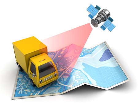tracking: 3d illustration of truck tracking with satellite, over map background