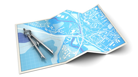 cartography: 3d illustration of citry map with measure tool, cartography concept Stock Photo