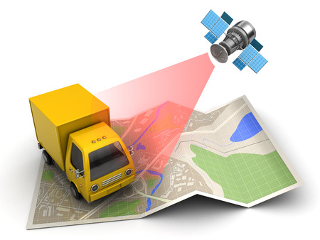 3d illustration of cargo satellite tracking concept Banco de Imagens - 65941122