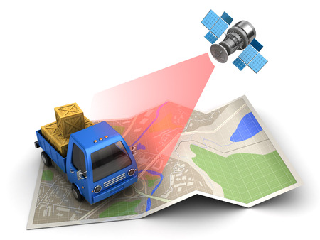 lorries: 3d illustration of cargo delivery tracking with satellite