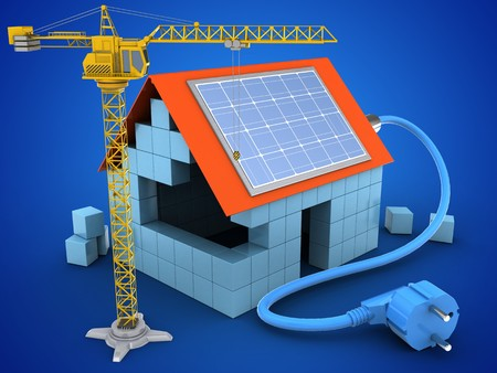 3d illustration of block house over blue background with solar power and crane