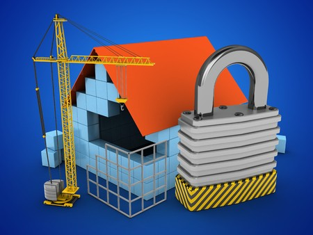 stipes: 3d illustration of block house over blue background with padlock and construction site