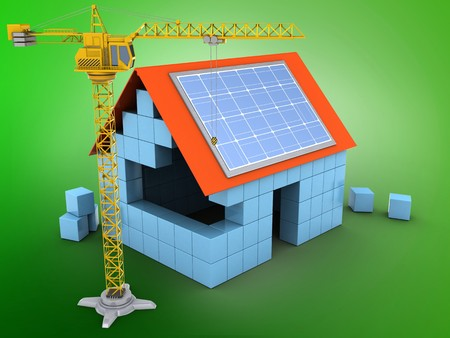 3d illustration of block house over green background with solar panel and crane