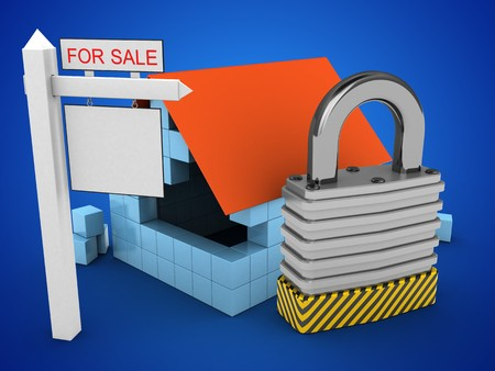 stipes: 3d illustration of block house over blue background with padlock and sale sign Stock Photo