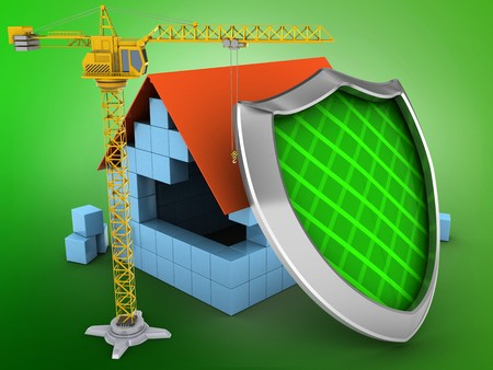 guarding: 3d illustration of block house over green background with shield and crane