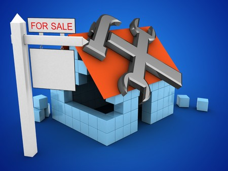 rent index: 3d illustration of block house over blue background with repair symbol and sale sign
