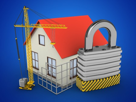 stipes: 3d illustration of generic house over blue background with padlock and construction site