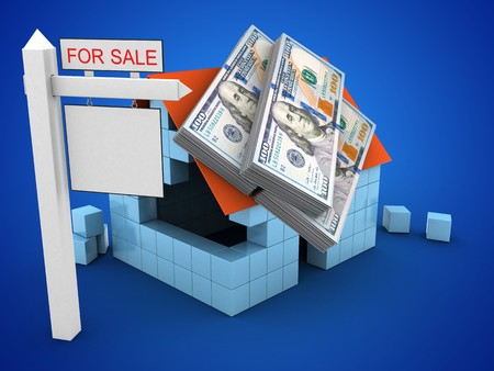 deposite: 3d illustration of block house over blue background with money and sale sign