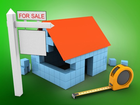 rent index: 3d illustration of block house over green background with ruler and sale sign