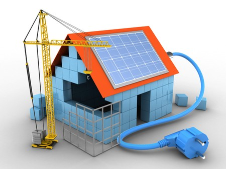 rating: 3d illustration of block house over white background with solar power and construction site