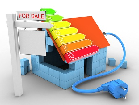 rating: 3d illustration of block house over white background with power ranks and sale sign