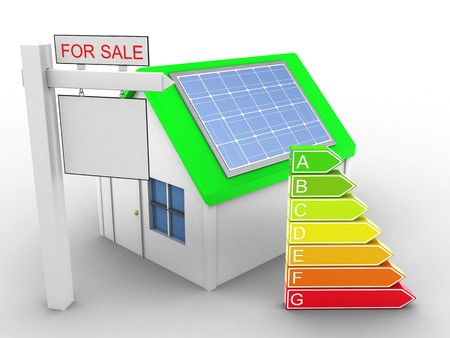 energy ranking: 3d illustration of simple house over white background with clean energy and sale sign Stock Photo