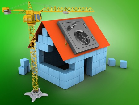 3d illustration of block house over green background with safe and crane Stock Photo