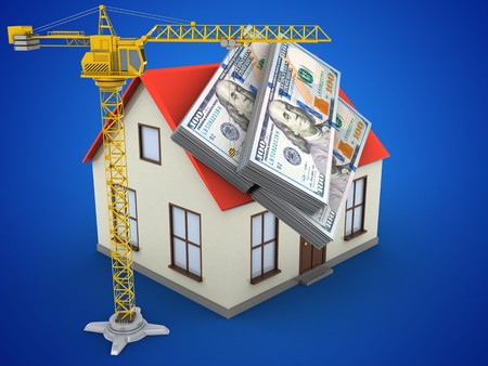 deposite: 3d illustration of generic house over blue background with money and crane Stock Photo
