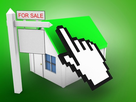 rent index: 3d illustration of simple house over green background with cursor and sale sign