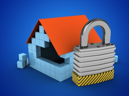 stipes: 3d illustration of block house over blue background with padlock