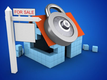 rent index: 3d illustration of block house over blue background with code lock and sale sign