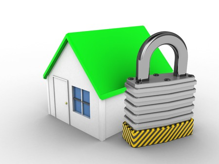 stipes: 3d illustration of simple house over white background with padlock