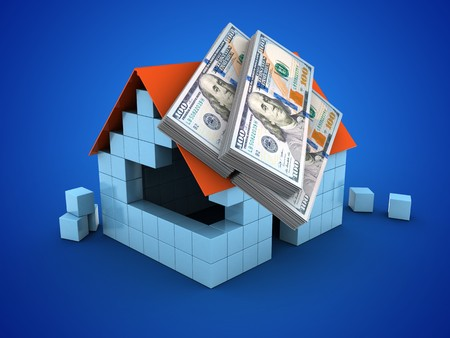 lien: 3d illustration of block house over blue background with money Stock Photo