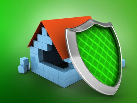 guarding: 3d illustration of block house over green background with shield