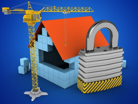 stipes: 3d illustration of block house over blue background with padlock and crane Stock Photo