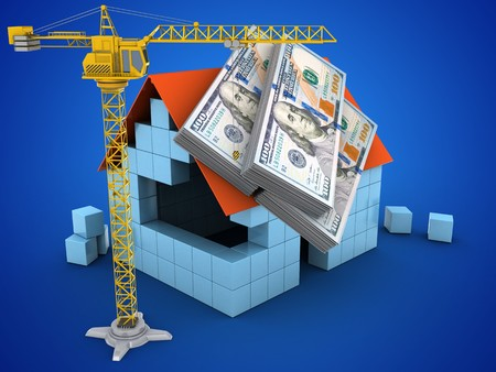 deposite: 3d illustration of block house over blue background with money and crane Stock Photo
