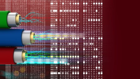 hexadecimal: abstract 3d red background with data cables and hexadecimal code Stock Photo