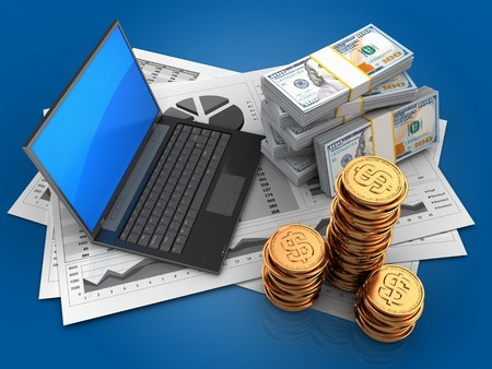 3d illustration of business charts and black laptop over blue background with money