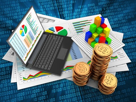 3d illustration of business documents and personal computer over digital background with graph