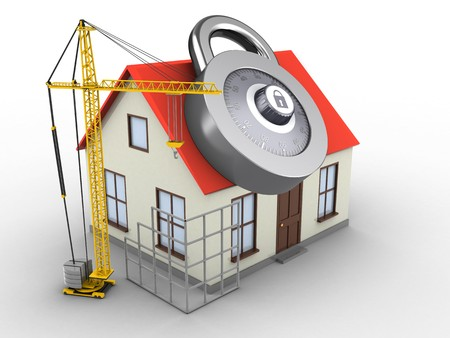 3d illustration of generic house over white background with code lock and construction site