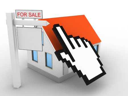 rent index: 3d illustration of house red roof over white background with cursor and sale sign Stock Photo