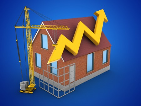 3d illustration of bricks house over blue background with arrow graph and construction site