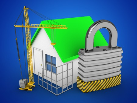 3d illustration of simple house over blue background with padlock and construction site Stock Photo