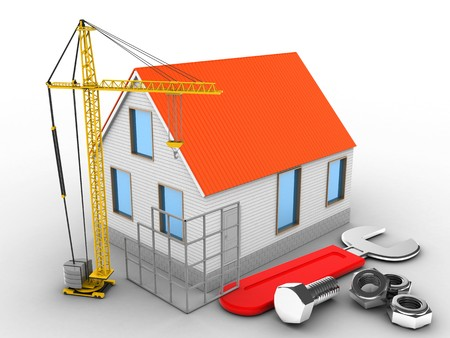 building site: 3d illustration of house red roof over white background with wrench and construction site