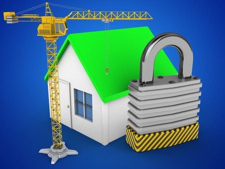 stipes: 3d illustration of simple house over blue background with padlock and crane