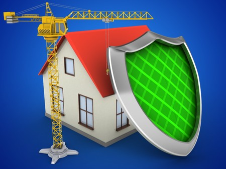 guarding: 3d illustration of generic house over blue background with shield and crane Stock Photo