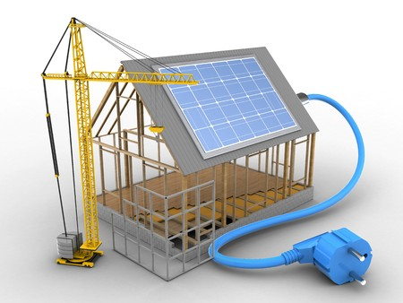 building site: 3d illustration of house frame over white background with solar power and construction site