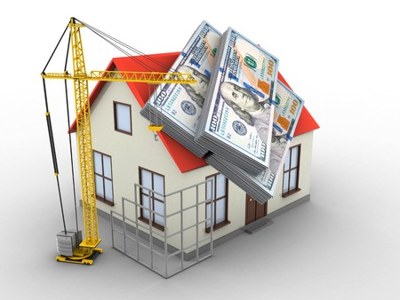 deposite: 3d illustration of generic house over white background with money and construction site Stock Photo