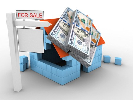 earnest: 3d illustration of block house over white background with money and sale sign Stock Photo