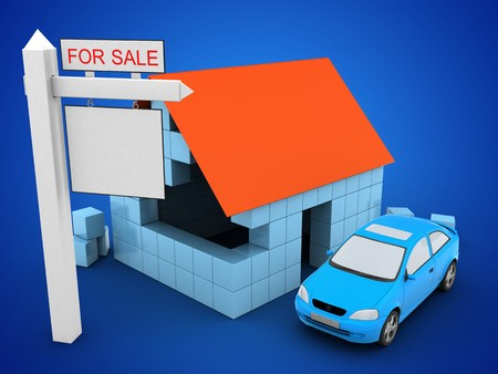 rent index: 3d illustration of block house over blue background with car and sale sign
