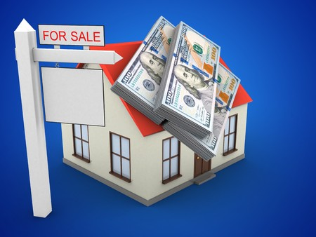 deposite: 3d illustration of generic house over blue background with money and sale sign