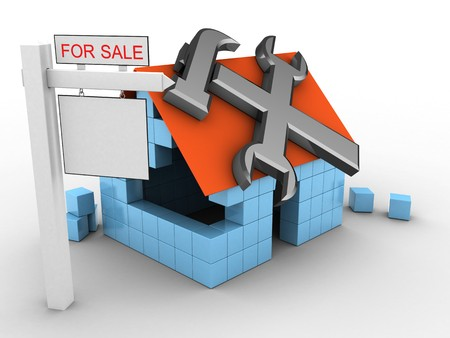 rent index: 3d illustration of block house over white background with repair symbol and sale sign
