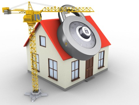 3d illustration of generic house over white background with code lock and crane Stock Photo