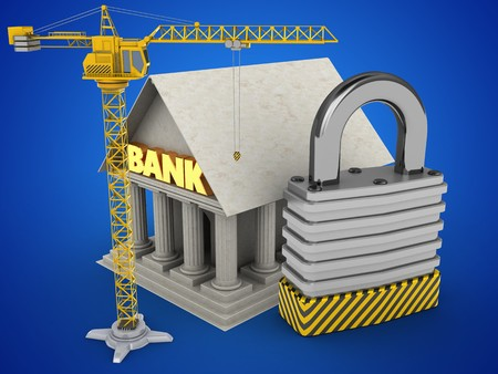 stipes: 3d illustration of Bank over blue background with padlock and crane