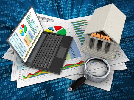 3d illustration of business documents and personal computer over digital background with bank